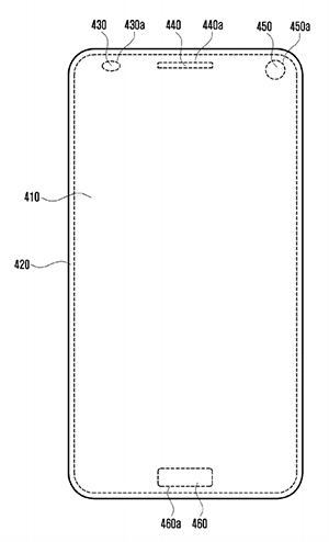 A blank mockup of Samsung's patented all-screen concept phone.