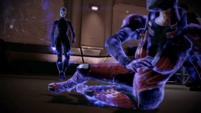 Morinth looms over her mother, Samara, in a biotic duel to the death.