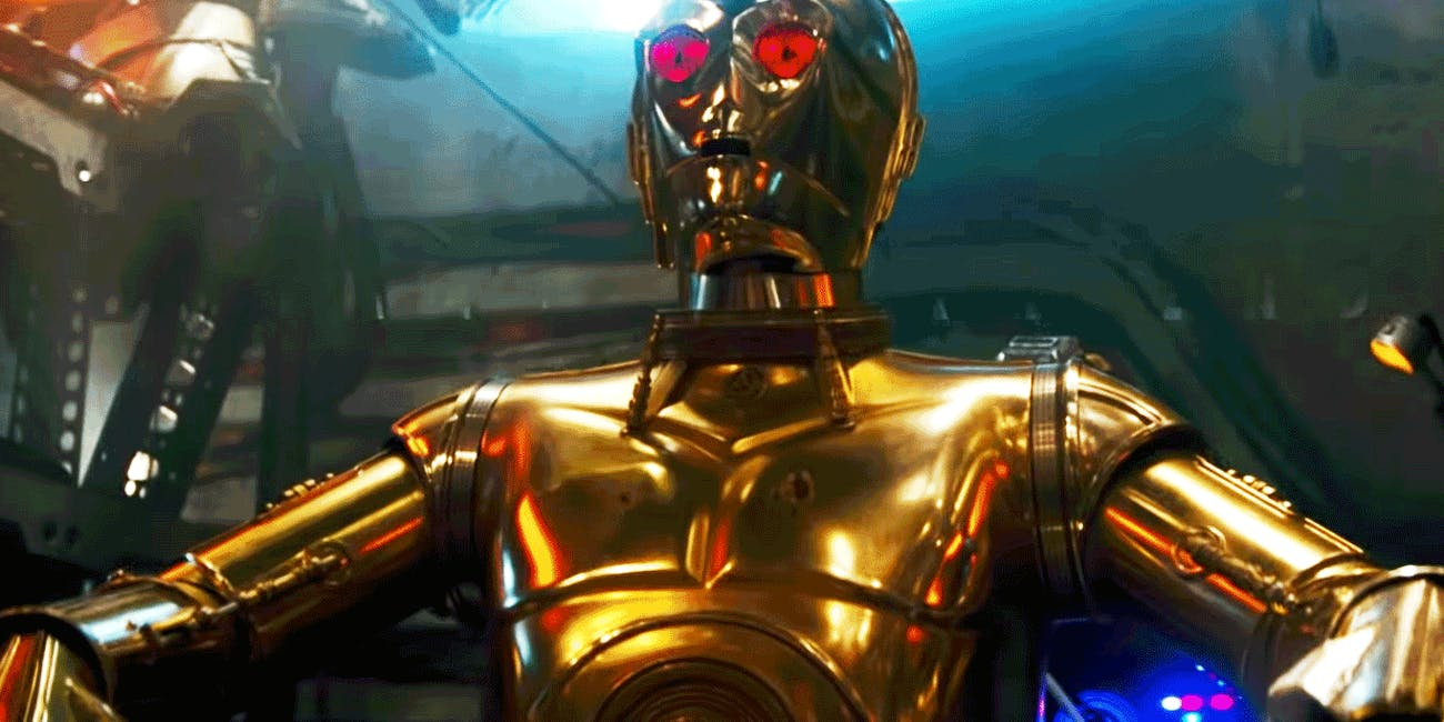 C-3PO with red eyes in the 'Rise of Skywalker' trailer.