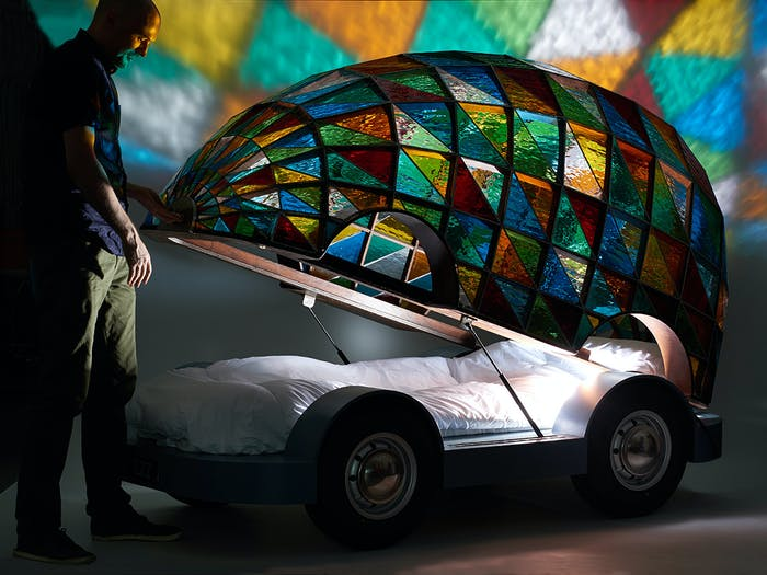 Wilcox's stained glass bed vehicle.