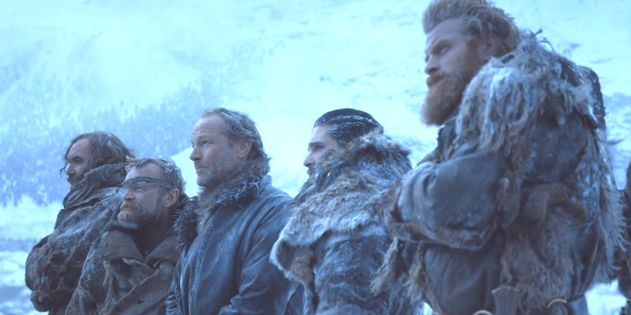 Kit Harginton as Jon Snow, Rory McCann as The Hound, Tormund and Jorah in 'Game of thrones' Season 7 'Beyond the Wall'