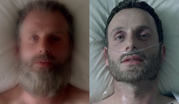 Old Man Rick's awakening looks a lot like his awakening from his coma all that time ago.