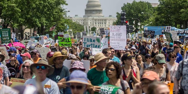 Protesters converged on Washington, D.C. for the People's Climate March Saturday.