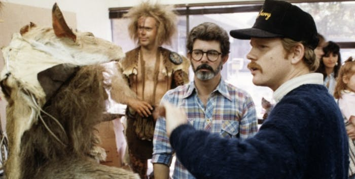 Lucas and Howard on the set of 'Willow.'