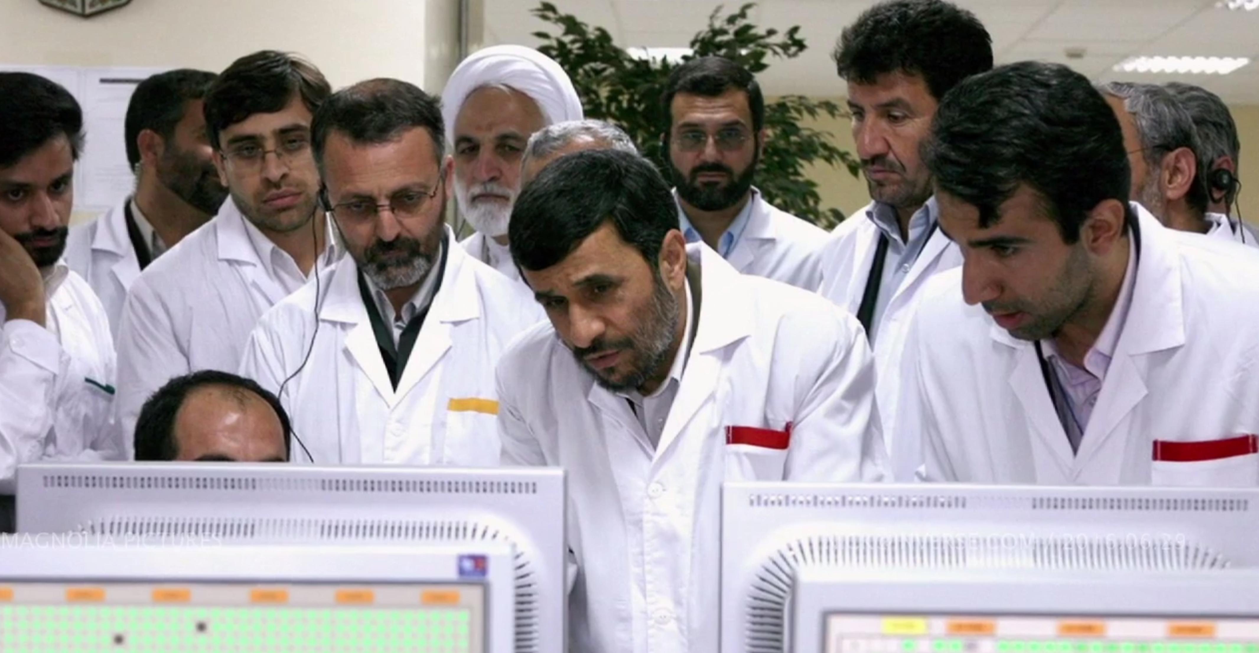 Then-Iranian President Mahmoud Ahmadinejad at Natanz nuclear facility in Iran. The publicity photo let leak vital intelligence information.