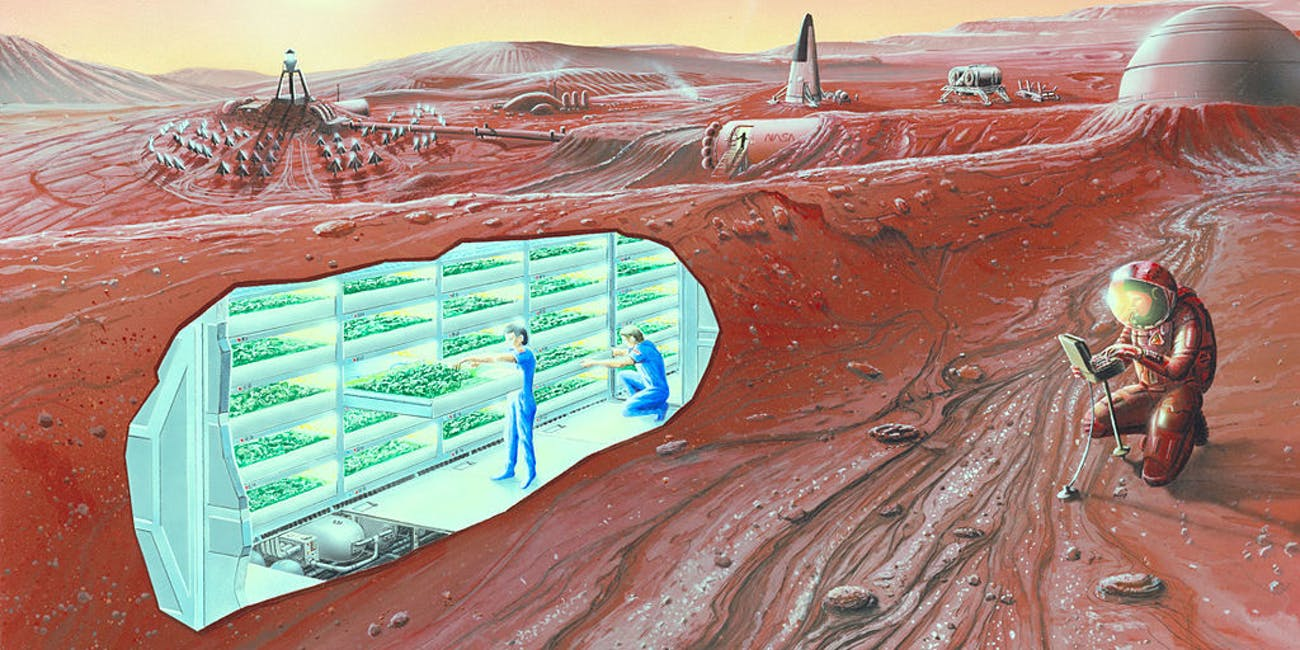 An artist's conception of a human Mars base, with a cutaway revealing an interior horticultural area. NASA will use data collected by lunar landers to inform its plans for a Mars mission.