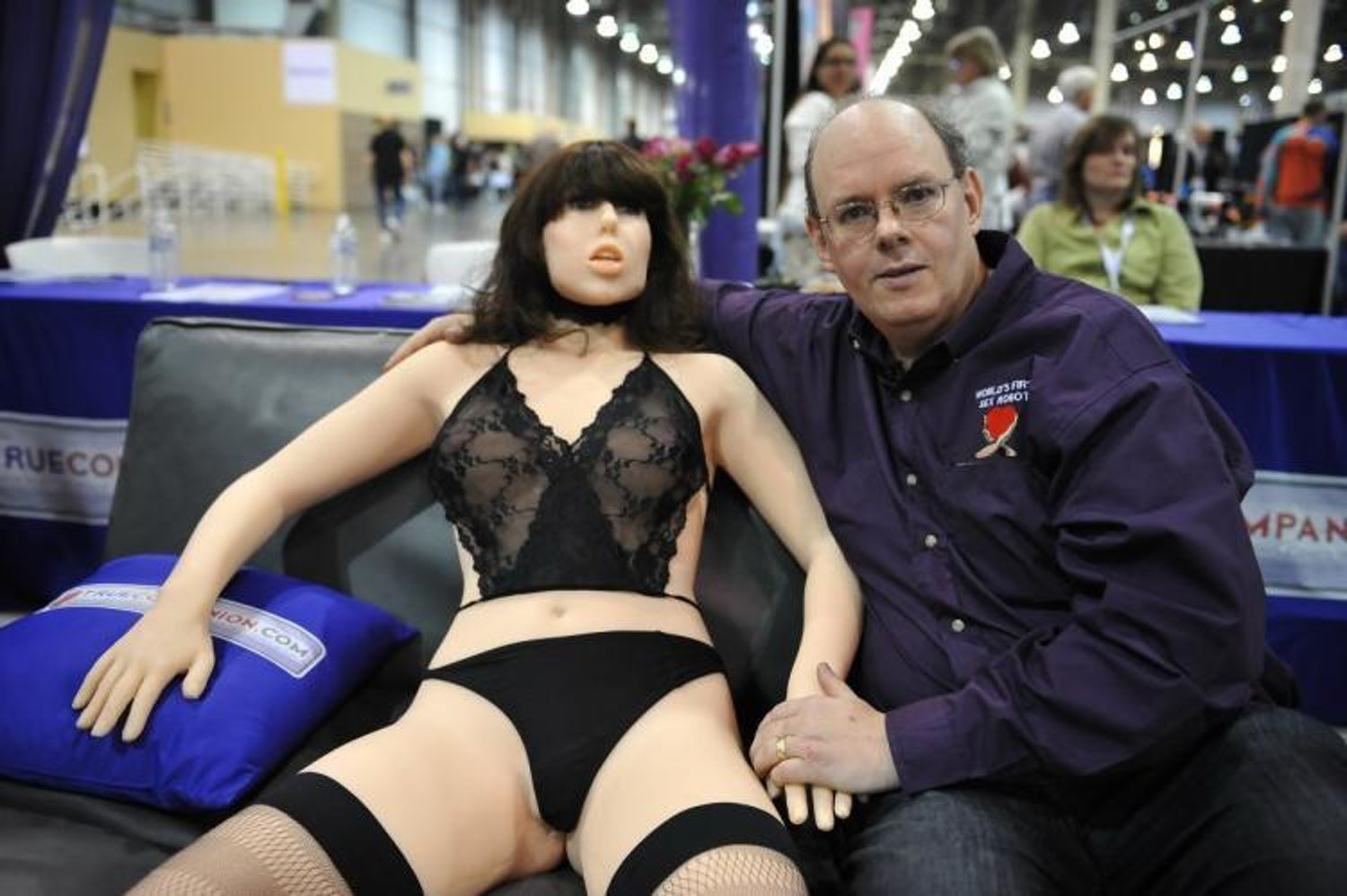 Inventor Douglas Hines with his Frankenstein's cum monster, the Roxxxy robot sex doll.