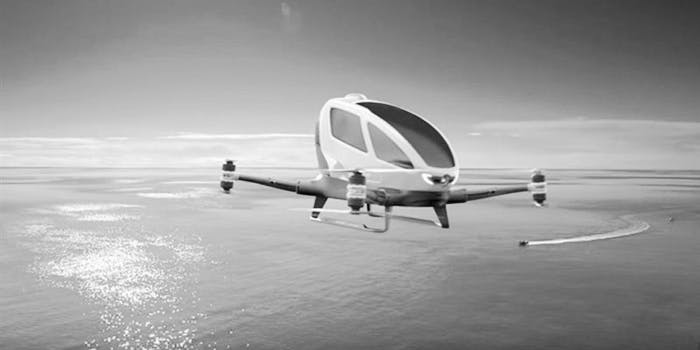 The Ehang 184 is seen flying over the ocean near Dubai which will use it for flying taxis.
