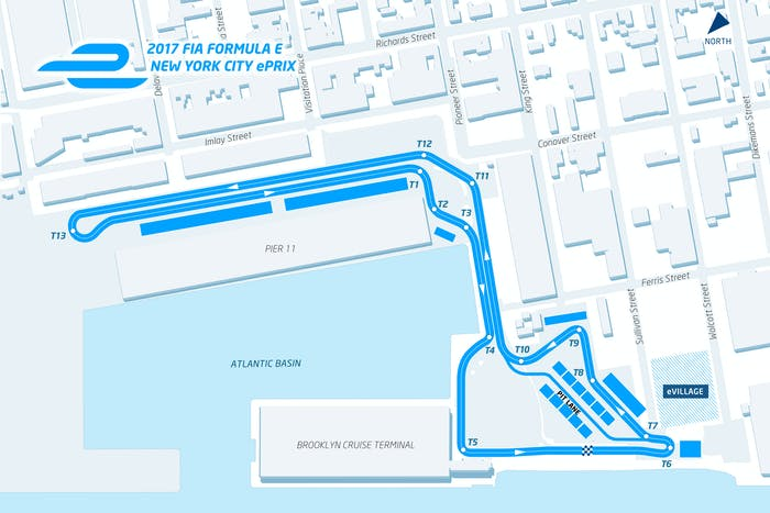 The Formula E course winds along the interior side of pier 11, and into the parking lot of the Brooklyn Cruise Terminal. The course is 1.21 miles and features 13 corners, which you can count here, if you want.