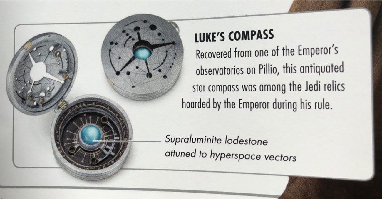 Translation: Fancy space compass can lead you to places across the galaxy.