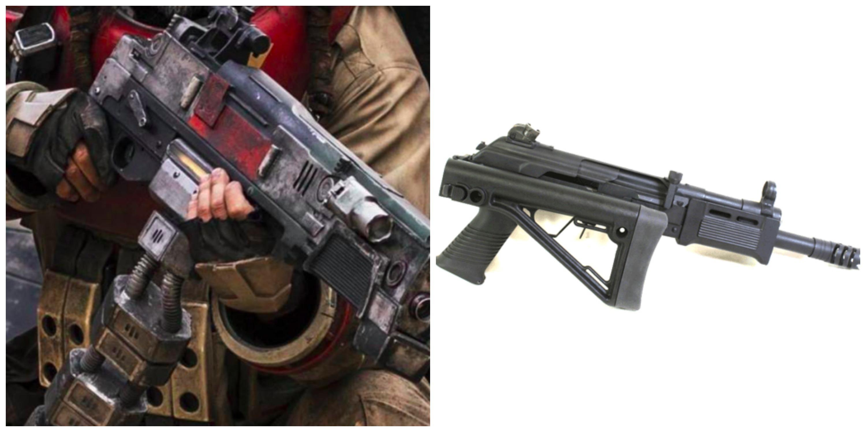 Left: Baze's blaster in 'Rogue One.' Right: a contemporary Saiga shotgun.