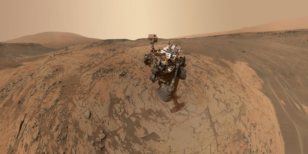 MOUNT SHARP, MARS - JANUARY 2015:  In this handout provided by NASA/JPL-Caltech/MSSS  This self-portrait of NASA's Curiosity Mars rover shows the vehicle at the 'Mojave' site, where its drill collected the mission's second taste of Mount Sharp. The scene combines dozens of images taken during January 2015 by the MAHLI camera at the end of the rover's robotic arm.  (Photo by NASA/JPL-Caltech/MSSS via Getty Images)