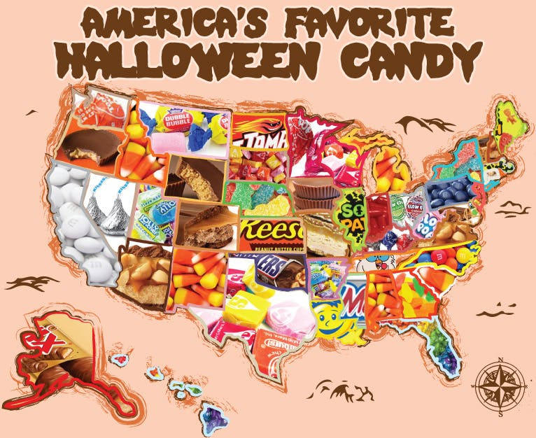Halloween Candy State Map