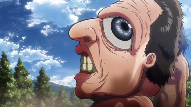 A close-up shot of a creepy Titan in the Season 2 finale.