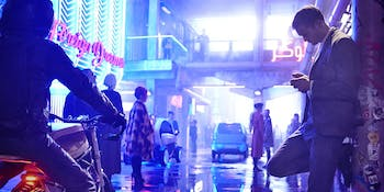 The aesthetic of 'Mute' channels some serious 'Blade Runner' vibes.