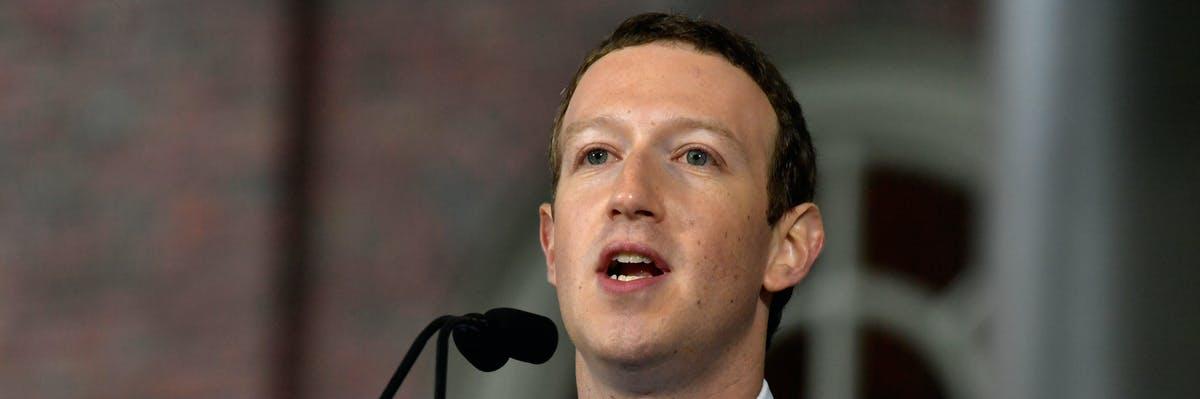 CAMBRIDGE, MA - MAY 25:  Facebook Founder and CEO Mark Zuckerberg delivers the commencement address at the Alumni Exercises at Harvard's 366th commencement exercises on May 25, 2017 in Cambridge, Massachusetts. Zuckerberg studied computer science at Harvard before leaving to move Facebook to Paolo Alto, CA. He returned to the campus this week to his former dorm room and live streamed his visit.  (Photo by Paul Marotta/Getty Images)
