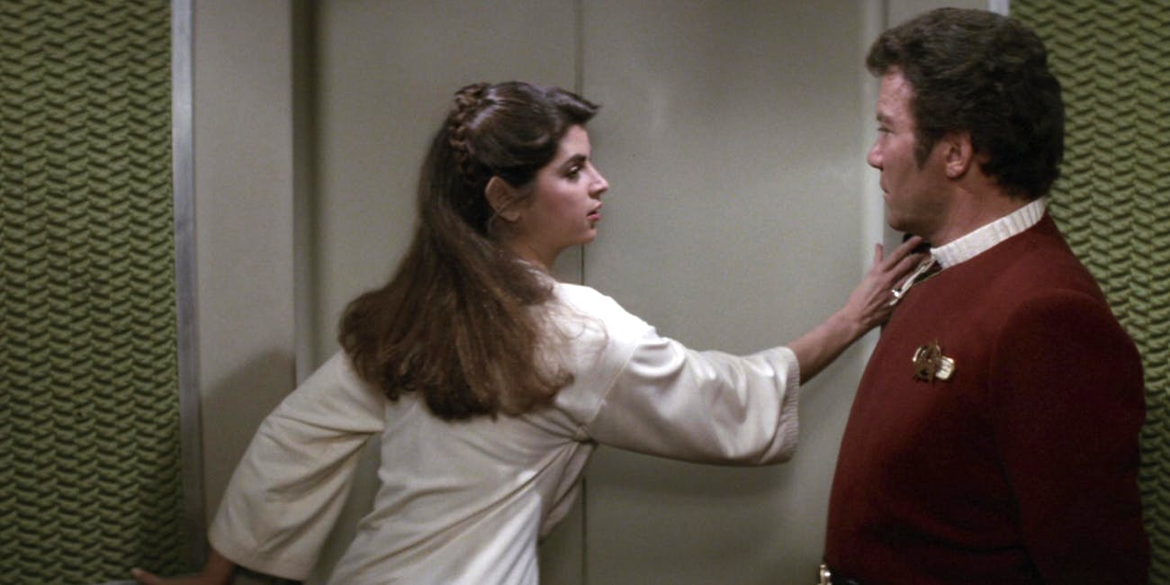 Kirstie Alley and William Shatner in 'Star Trek II: The Wrath of Khan'