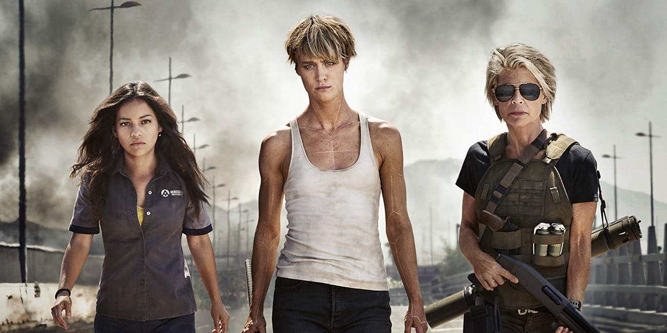 Natalia Reyes, Mackenzie Davis, and Linda Hamilton in 'Terminator: Dark Fate'