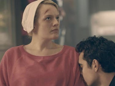 Max Minghella as Nick and Elizabeth Moss as 'Offred' in 'The Handmaid's Tale'