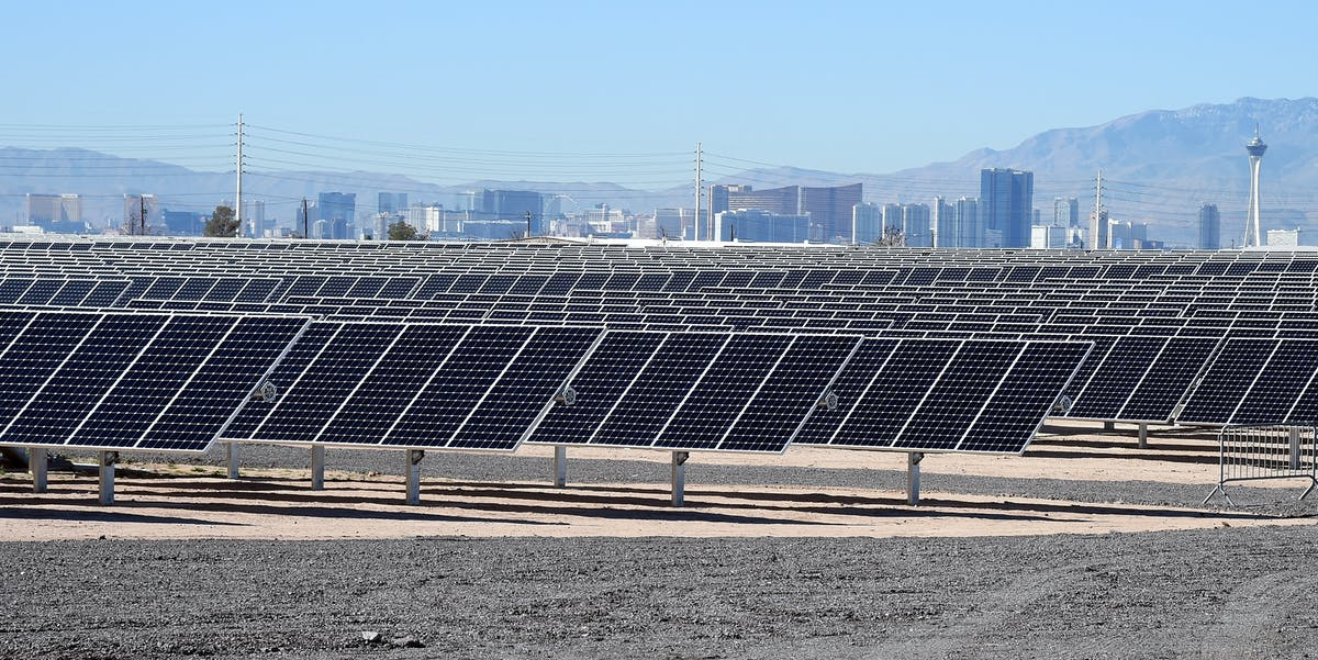 The 102-acre, 15-megawatt Solar Array II Generating Station at Nellis Air Force Base in Las Vegas, Nevada.