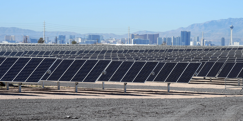 The 102-acre, 15-megawatt Solar Array II Generating Station at Nellis Air Force Base in Las Vegas, Nevada.