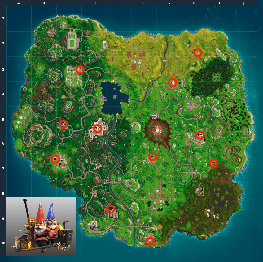 Fortnite Gnomes Locations Map Where To Find 7 Hungry Gnomes In