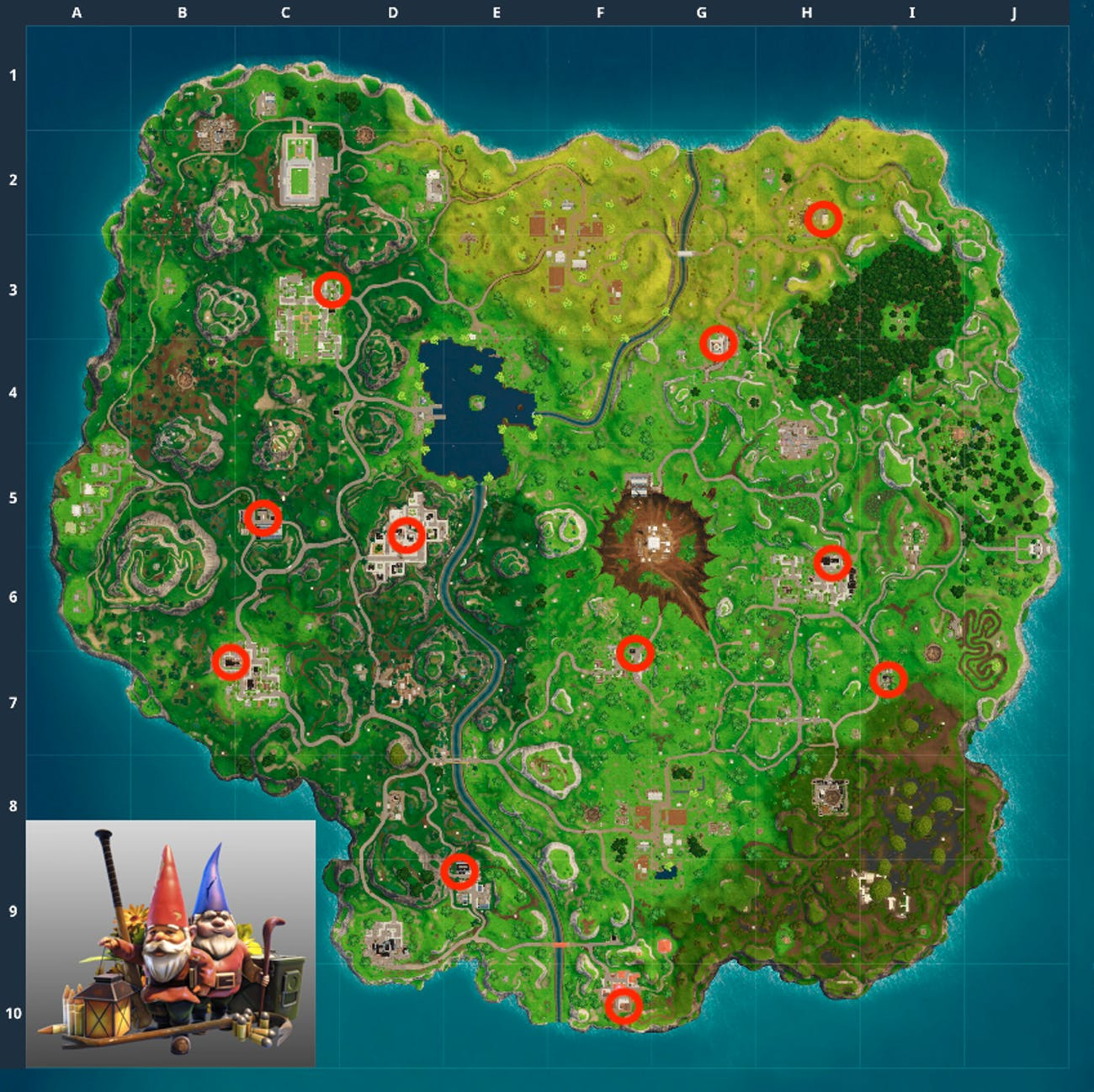Here's the location of what might be every Hungry Gnome for the 'Fortnite: Battle Royale' Week 8 Challenge.