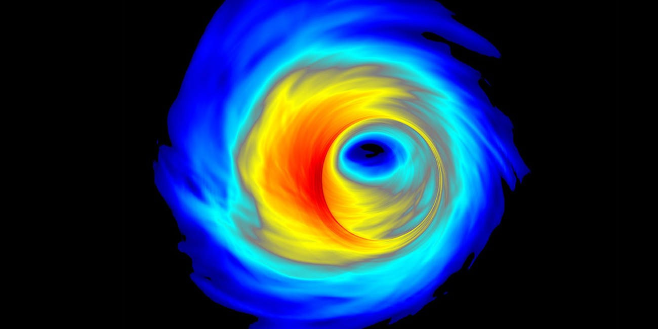 An accretion disk surrounding a supermassive black hole.