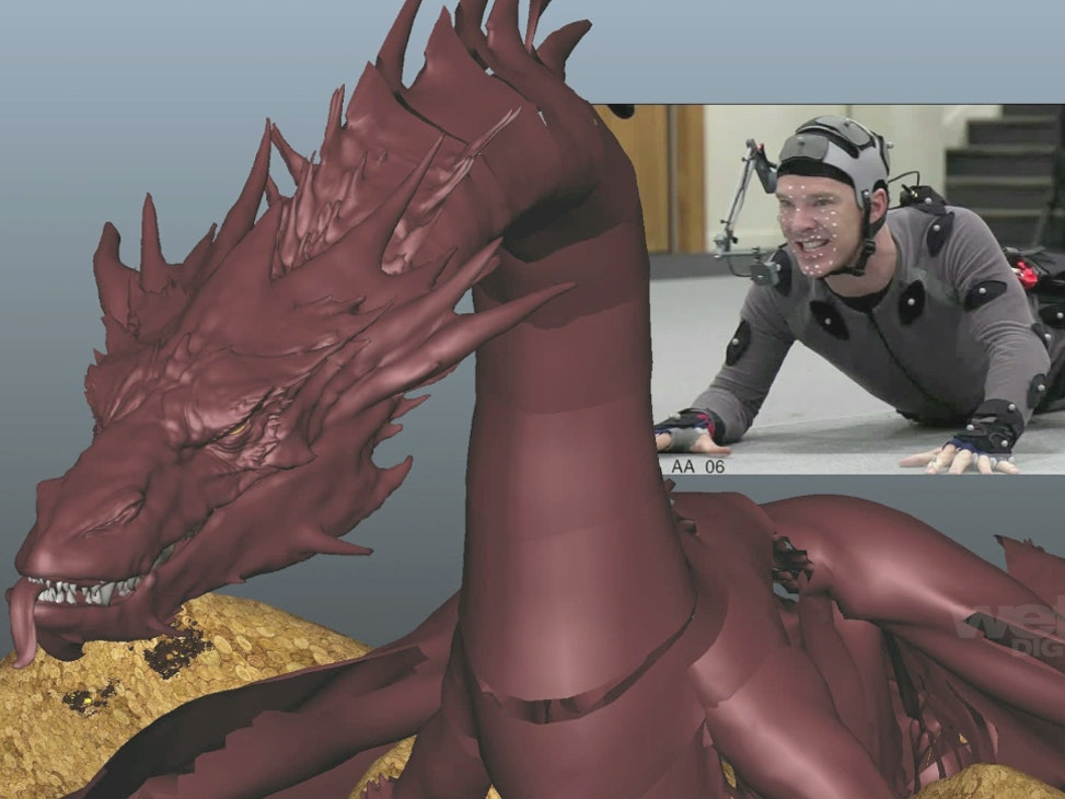 Benedict Cumberbatch in a motion capture suit helps establish the motion of Smaug in this animation test from Weta Digital.