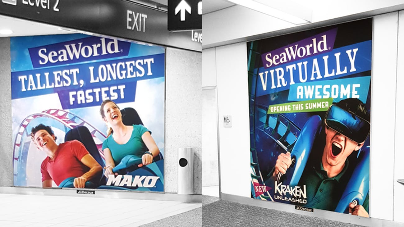 SeaWorld's traditional (left) and VR-enhanced (right) roller coaster advertisements at Orlando International airport.