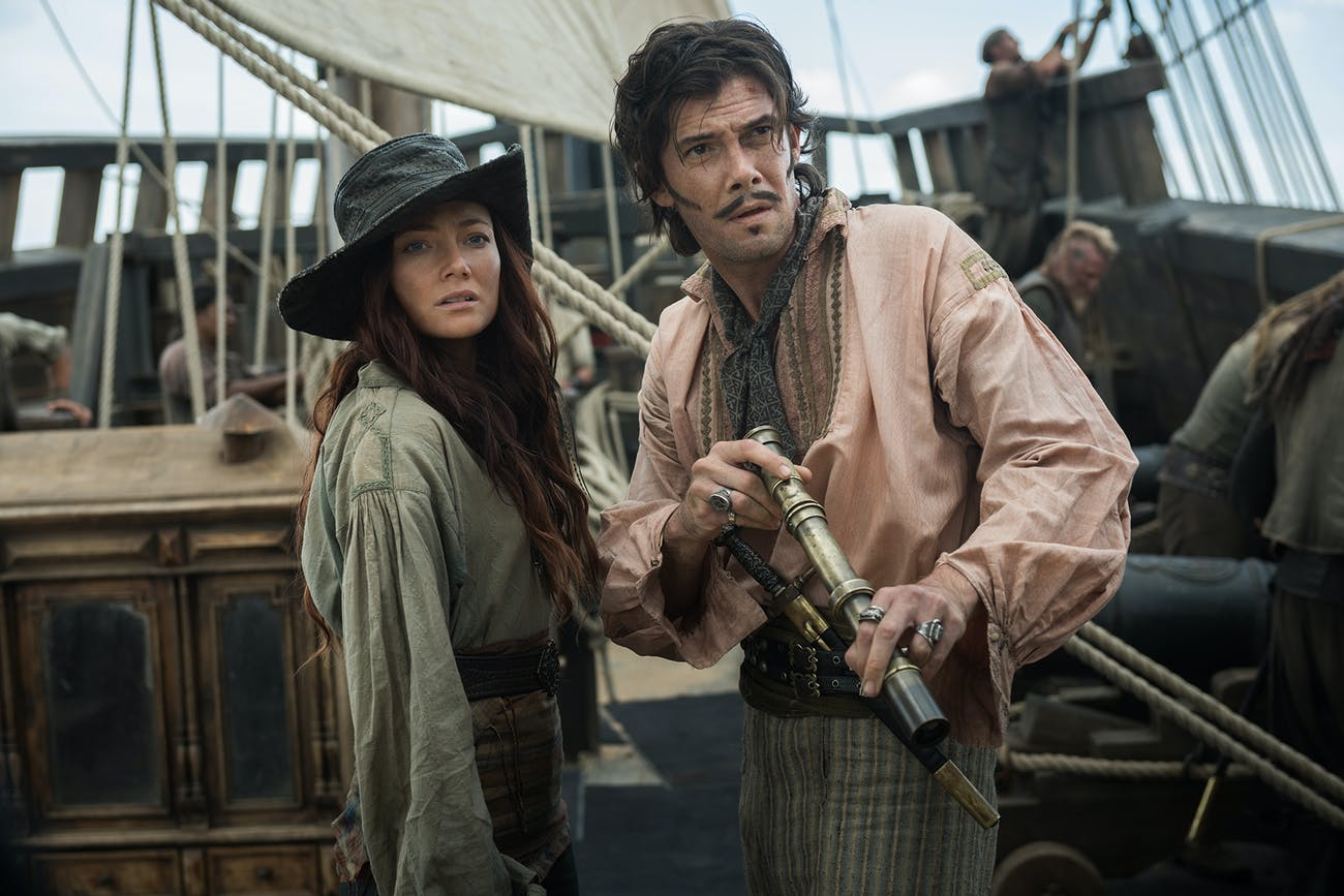 Clara Paget as Anne Bonny and Toby Schmitz as Jack Rackham