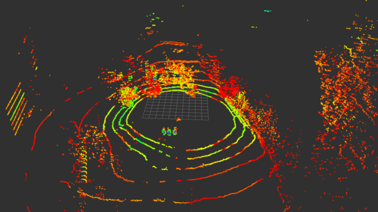 A lidar image from a drone in flight.