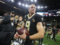 p.p1 {margin: 0.0px 0.0px 0.0px 0.0px; font: 18.0px Georgia}    New Orleans Saints quarterback Drew Brees on the field after beating the Cleveland Browns in New Orleans, Louisiana USA on September 16, 2018. The Saints beat the Browns 21-18