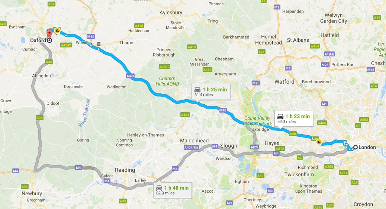 Map London To Oxford.A Fleet Of Self Driving Cars Will Test Drive From Oxford To London