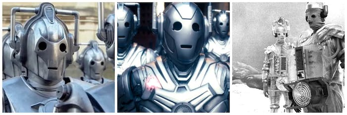 Cybermen from different worlds: 2006, 2013, and 1966.
