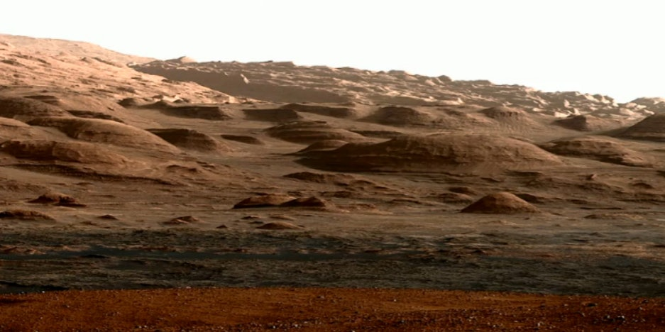 Mount Sharp, a region of Mars scientists are looking at in order to better understand the planet's mineral breakdown.