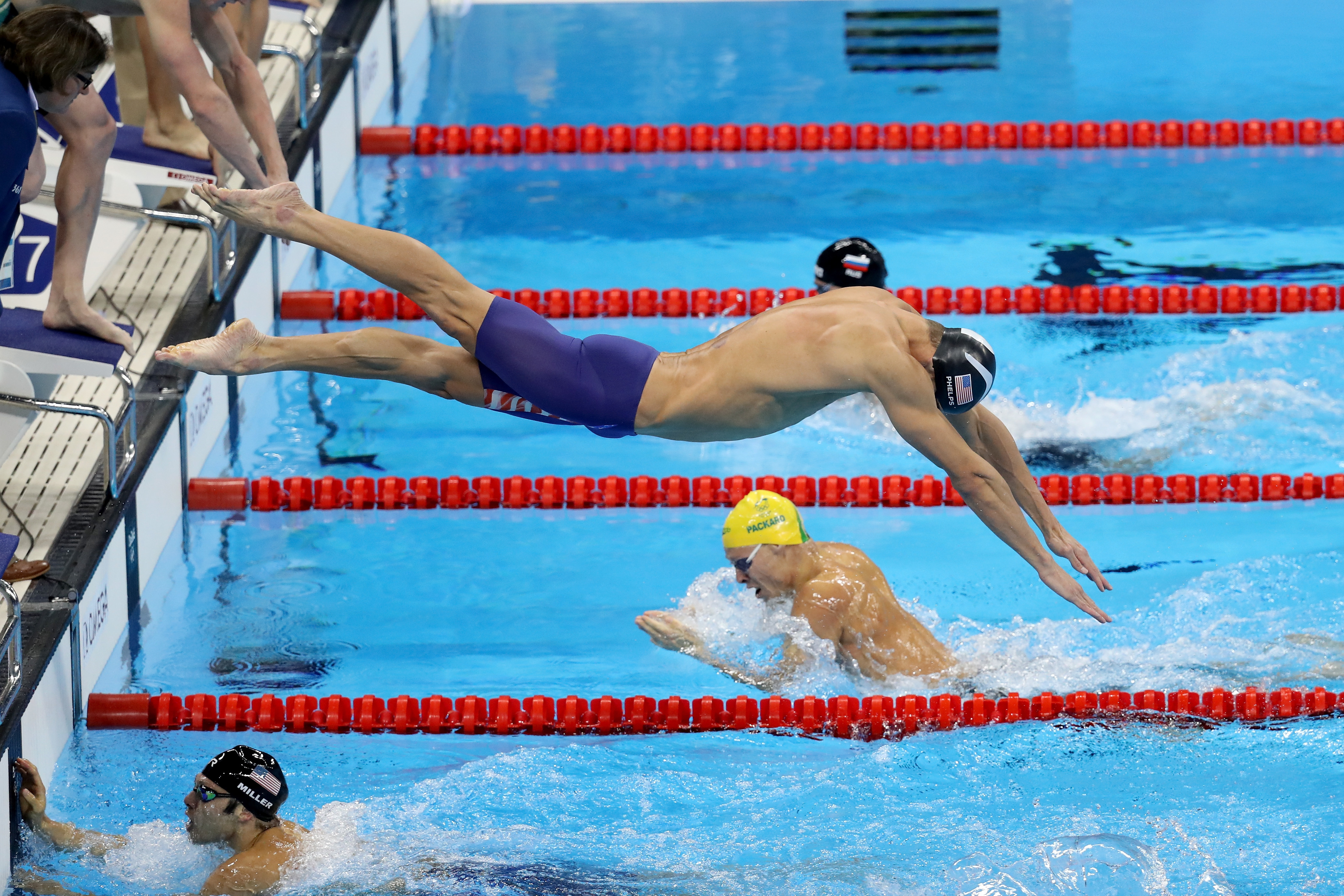 RIO DE JANEIRO, BRAZIL - AUGUST 13:  Michael Phelps of the United States competes in the Men's 4 x 100m Medley Relay Final on Day 8 of the Rio 2016 Olympic Games at the Olympic Aquatics Stadium on August 13, 2016 in Rio de Janeiro, Brazil.  (Photo by Rob Carr/Getty Images)
