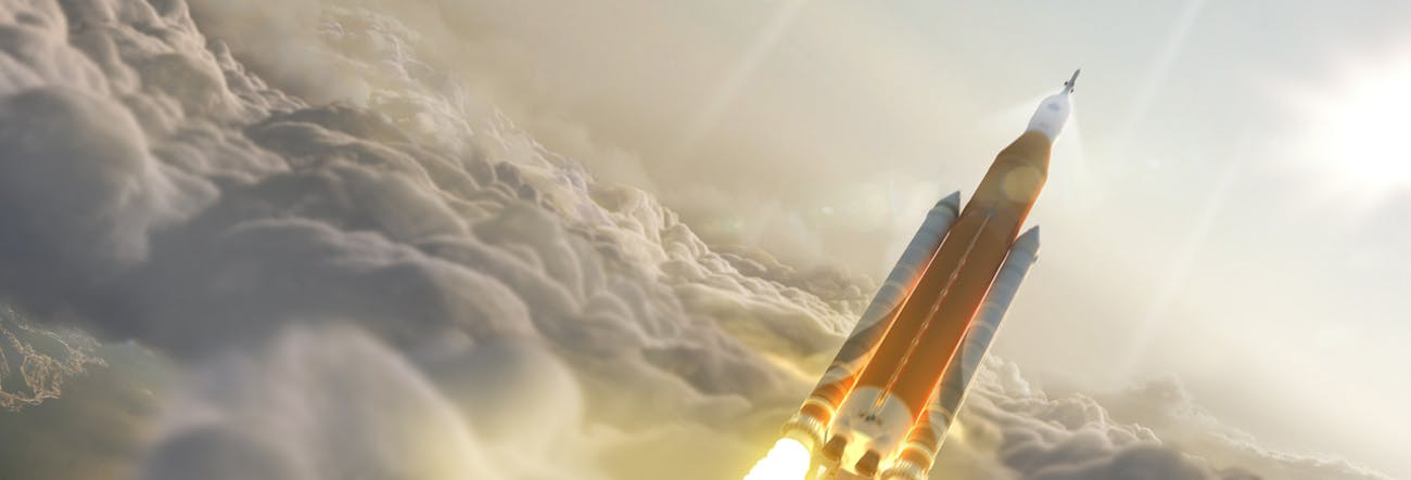 Concept art of Boeing and NASA's SLS.