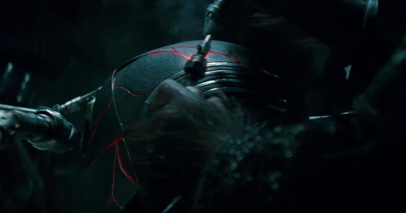 Kylo Ren's helmet being repaired.