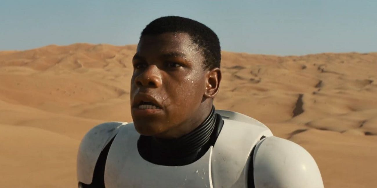 Finn probably won't be in any kind of stormtrooper armor in the scene.