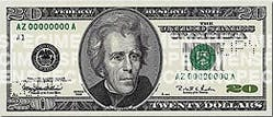 An image of the $20 note issued between 1998 - 2003