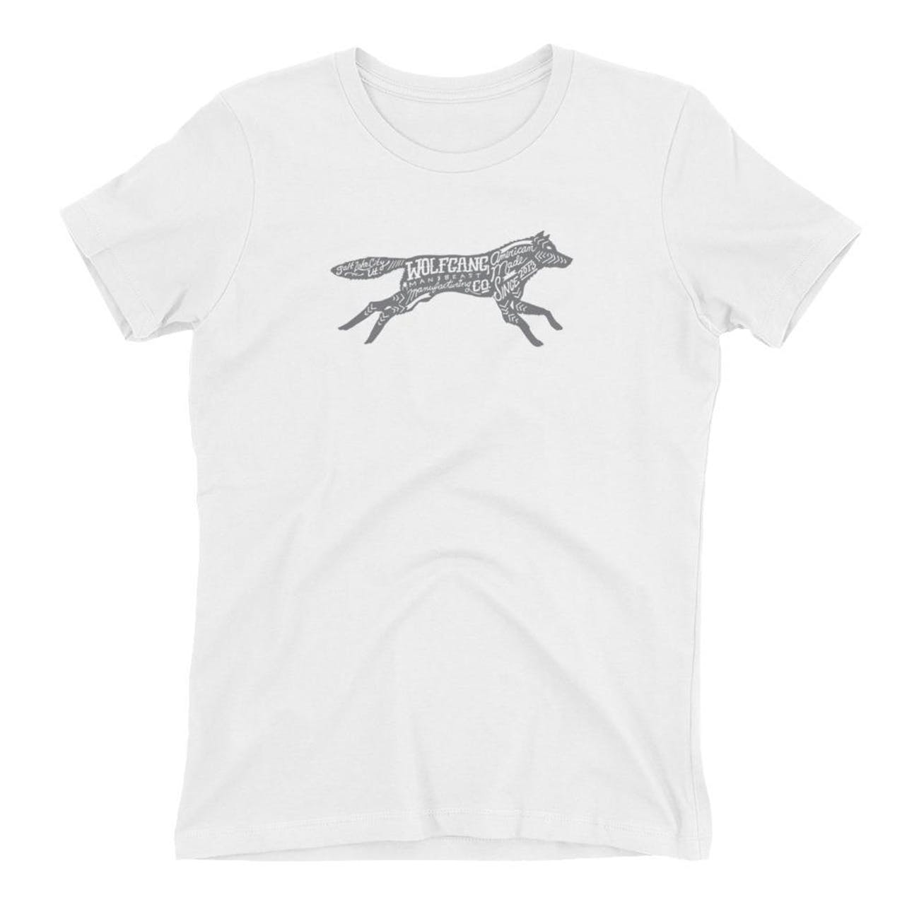 A white T-shirt with a wolf on it.