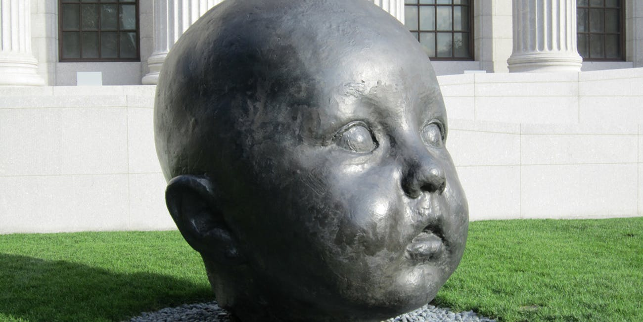 Giant baby head sculpture 1Museum of Fine Arts, Boston
