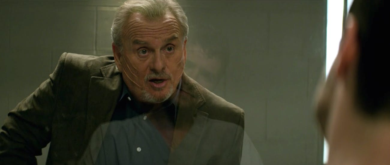 Detective Skarsgaard (Robert Craighead) finally gave up on his grudge after all those years.