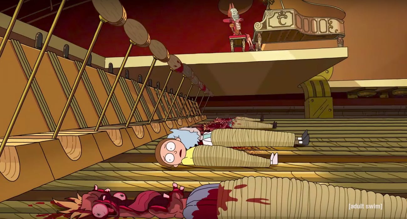 Look closely at this gory murder chamber and you'll realize it's actually a giant piano.