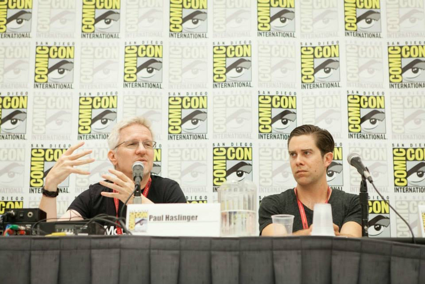 Haslinger (left) talking 'Halt and Catch Fire' at Comic-Con