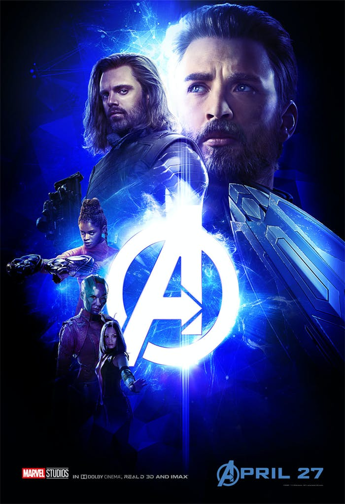 Blue 'Infinity War' poster has Captain America, Bucky, Shuri, Nebula, and Mantis.