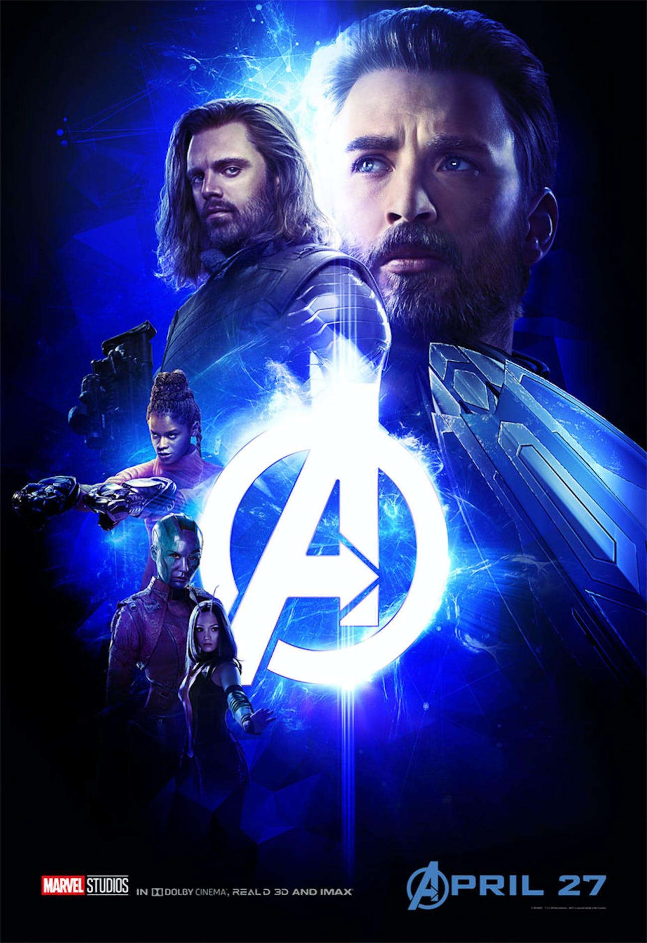 Blue 'Infinity War' poster has Captain America, Bucky, Shuri, Nebula, and Mantis.