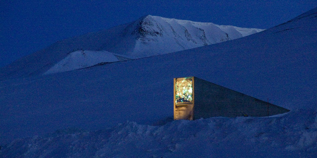 Svalbard Global Seed Vault at night