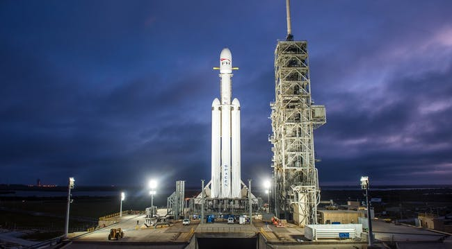 The Falcon Heavy rocket system on the launch pad in Florida.